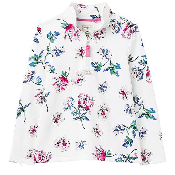 Joules Cream Floral Pip Print Casual Half Zip Sweatshirt
