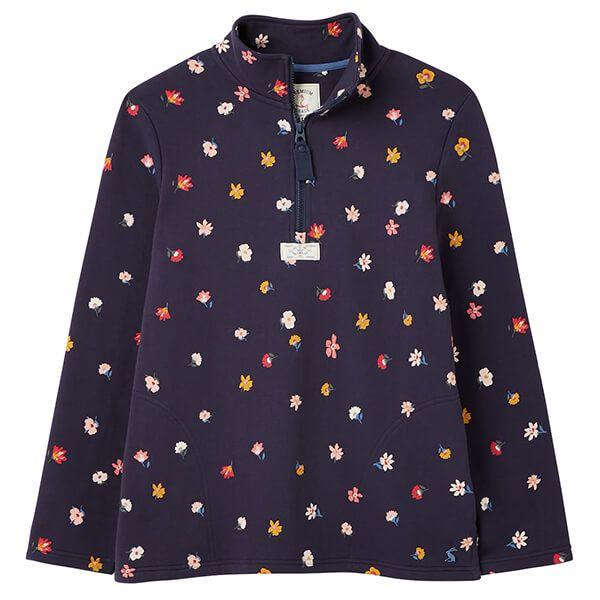 Joules Multi Ditsy Pip Print Casual Half Zip Sweatshirt