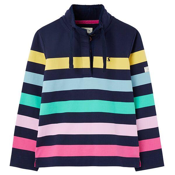 Joules Navy Multi Stripe Saunton Funnel Neck Sweatshirt