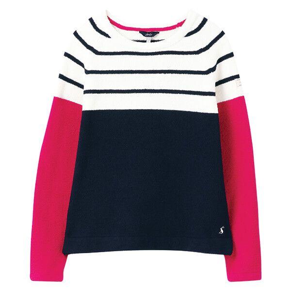 Joules Cream Navy Pink Stripe Seaport Chenille Jumper