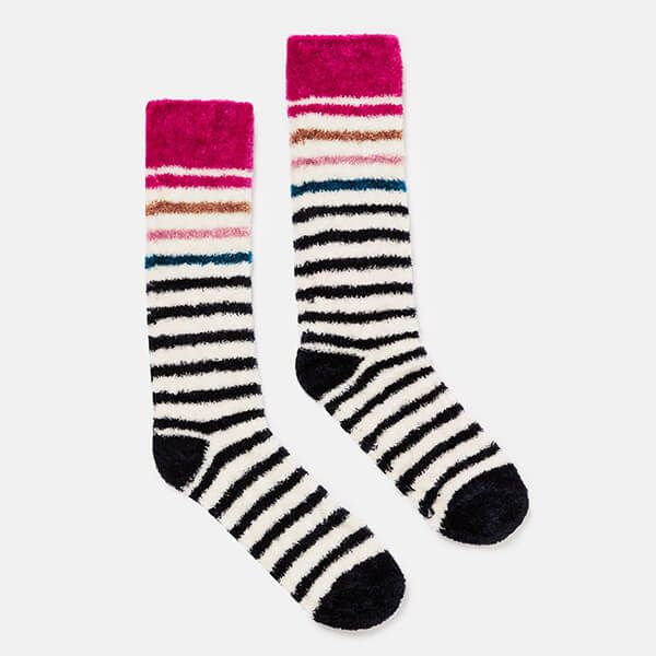 Joules Cream Multi Stripe Chenille Fluffy Socks Size 4-7