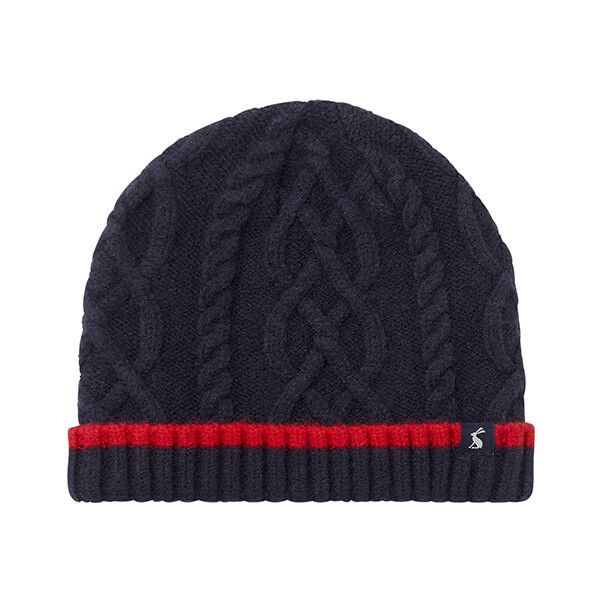 Joules French Navy Frosty Cable Knit Hat
