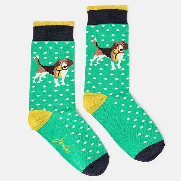 Joules Green Dog Brill Bamboo Socks