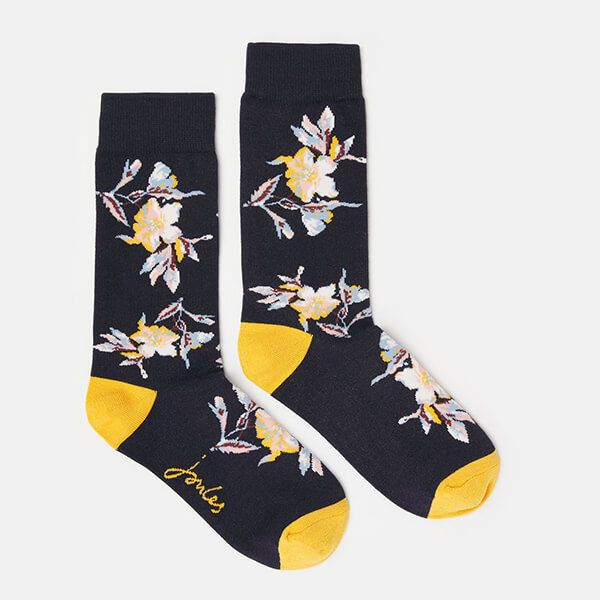 Joules Navy Floral Brill Bamboo Socks