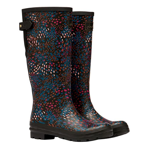 Joules Black Speckle Printed Wellies with Adjustable Back Gusset