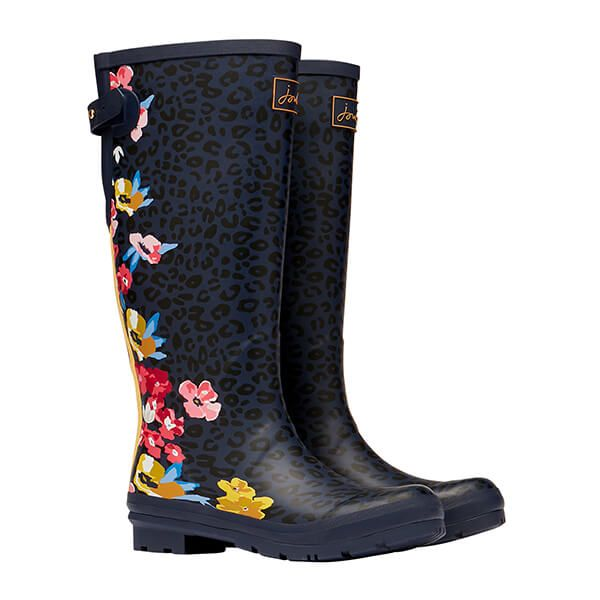 Joules Navy Floral Leopard Printed Wellies