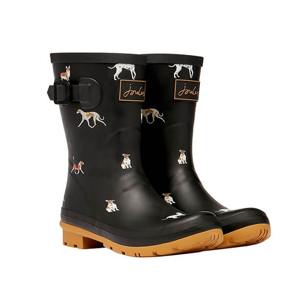 Joules Black Dog Molly Mid Height Dog Printed Wellies