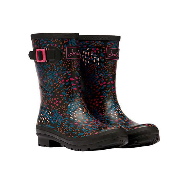 Joules Black Speckle Molly Mid Height Printed Wellies