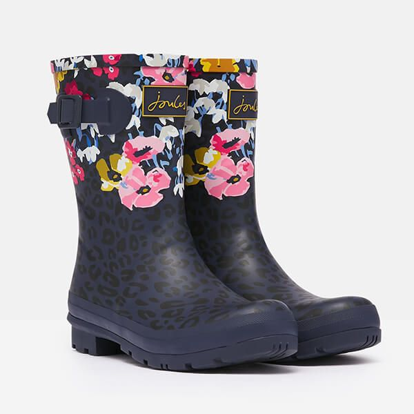 Joules Navy Leopard Mid Height Printed Wellies