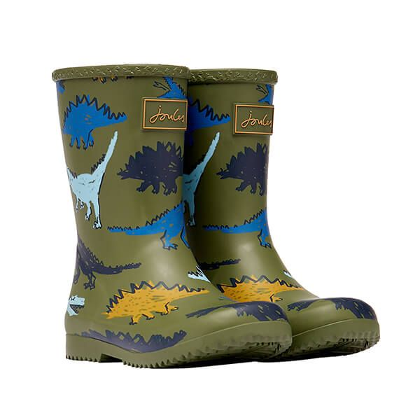 Joules Green Dinosaur Roll Up Flexible Printed Wellies