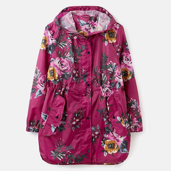 Joules Berry Floral Golightly Printed Waterproof Packable Jacket