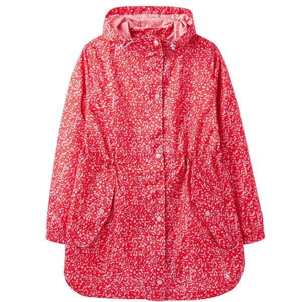 Joules Red Butterfly Golightly Printed Waterproof Packable Jacket