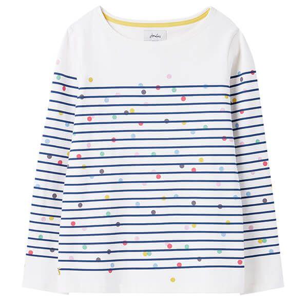 Joules Cream Blue Spot Stripe Harbour Print Long Sleeve Jersey Top