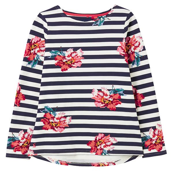 Joules Cream Floral Harbour Print Long Sleeve Jersey Top