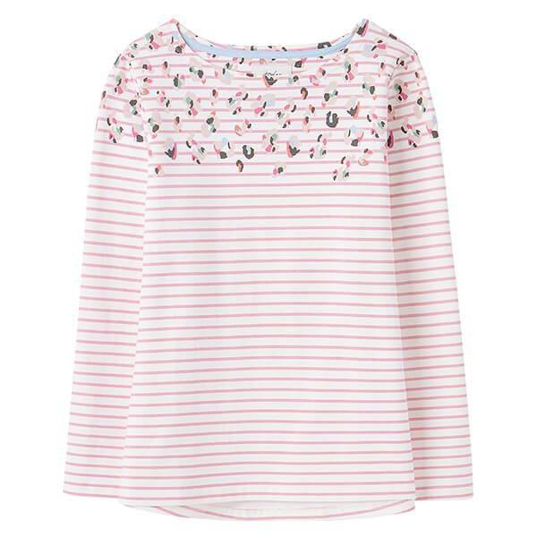 Joules Cream Pink Print Harbour Print Long Sleeve Jersey Top
