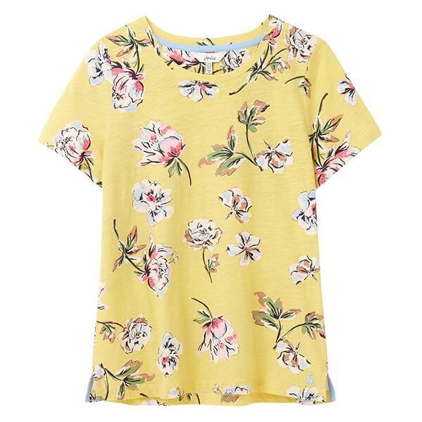 Joules Lemon Floral Carley Print Classic Crew T-Shirt