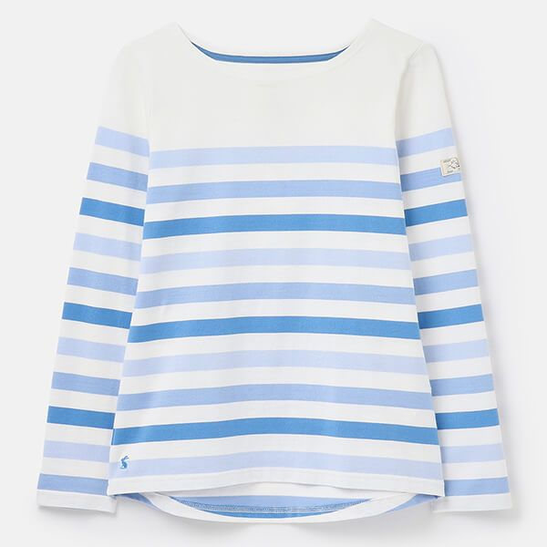 Joules Cream Stripe Harbour Long Sleeve Jersey Top