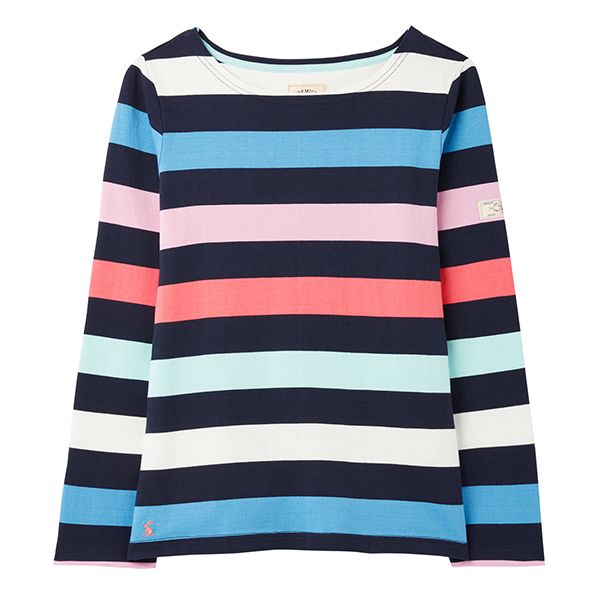 Joules Navy Stripe Harbour Long Sleeve Jersey Top