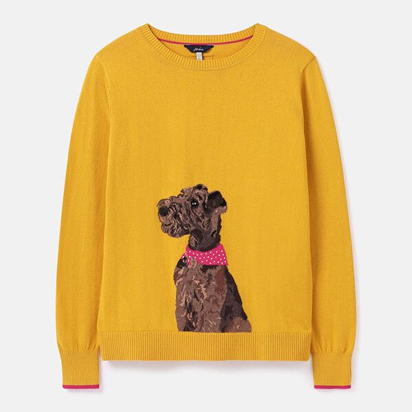 Joules Gold Dog Miranda Knitted Intarsia Crew Neck Jumper