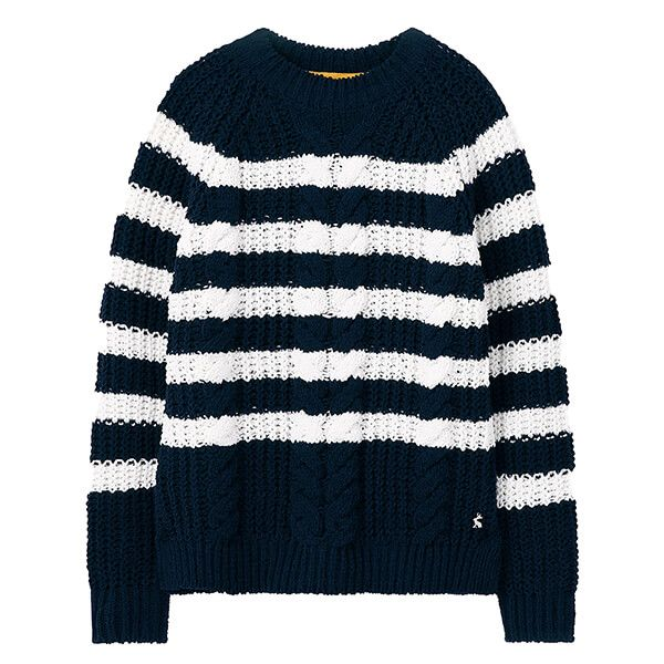 Joules Navy Cream Seaford Chenille Cable Jumper
