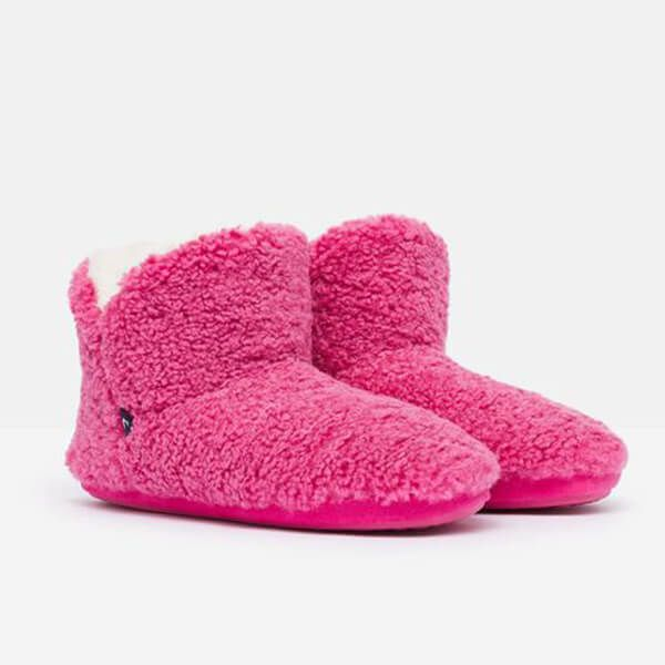 Joules Pink Cabin Luxe Faux Fur Lined Slipper with Rubber Sole