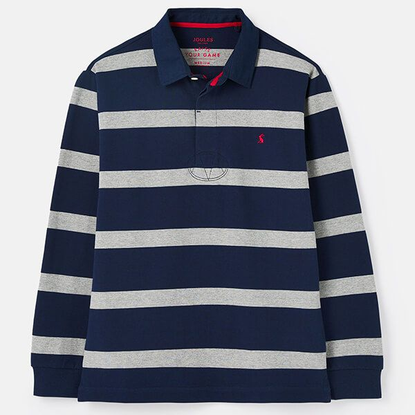 Joules Grey Navy Stripe Onside Rugby Shirt