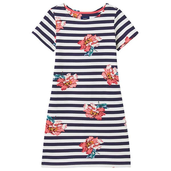 Joules Cream Floral Riviera Short Sleeve Jersey Dress