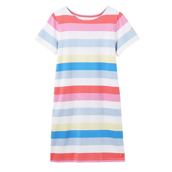 Joules Multi Stripe Riviera Printed Dress with Short Sleeves