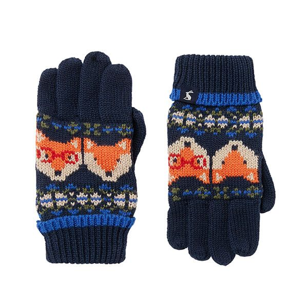 Joules Navy Fox Fairisle Toasty Fairisle Gloves