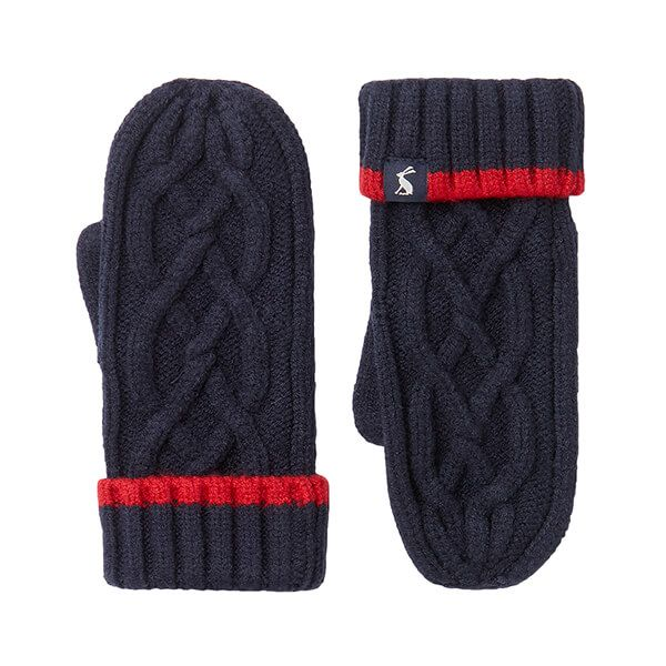 Joules French Navy Frosty Cable Mittens