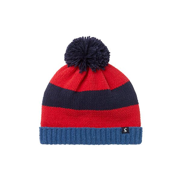 Joules Navy Stripe Bobble Stripe Knit Bobble Hat
