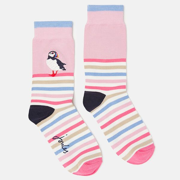Joules Puffin Stripe Brill Bamboo Embroidered Socks