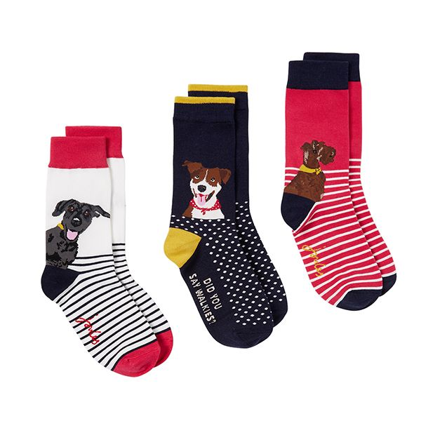 Joules Multi Dogs 3 Pack Brill Bamboo Socks