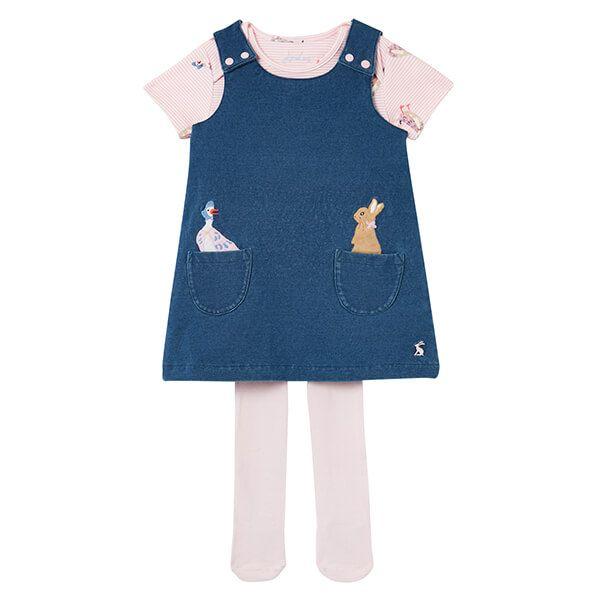 Joules Peter Rabbit Miya Bci Cotton Pinafore Dress Set