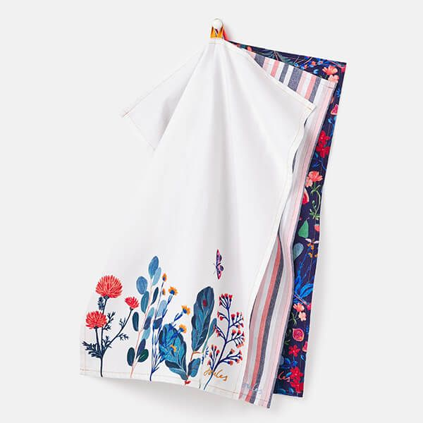 Joules Country Cottage Floral Tea Towels Set Of 3