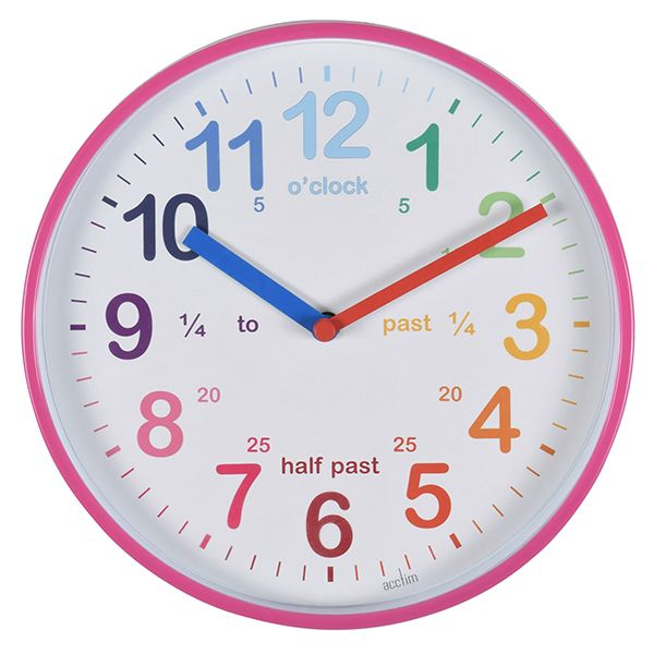 Acctim Wickford Kids Wall Clock Pink
