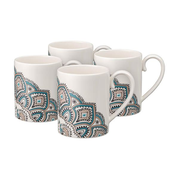 Denby Monsoon Mandala Set Of 4 Mug Set