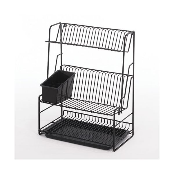 Delfinware Wireware Black 3 Tier Plate Rack