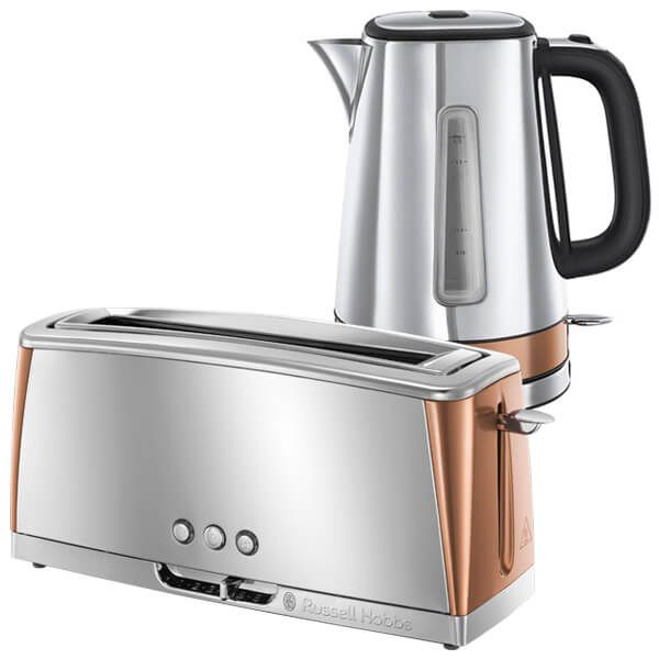 Russell Hobbs Luna Stainless Steel & Copper Kettle & Toaster Set
