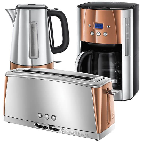 Russell Hobbs Luna Stainless Steel & Copper Breakfast Set