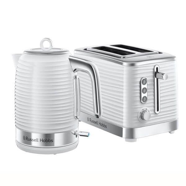 Russell Hobbs Inspire Kettle & 2 Slice Toaster Set White