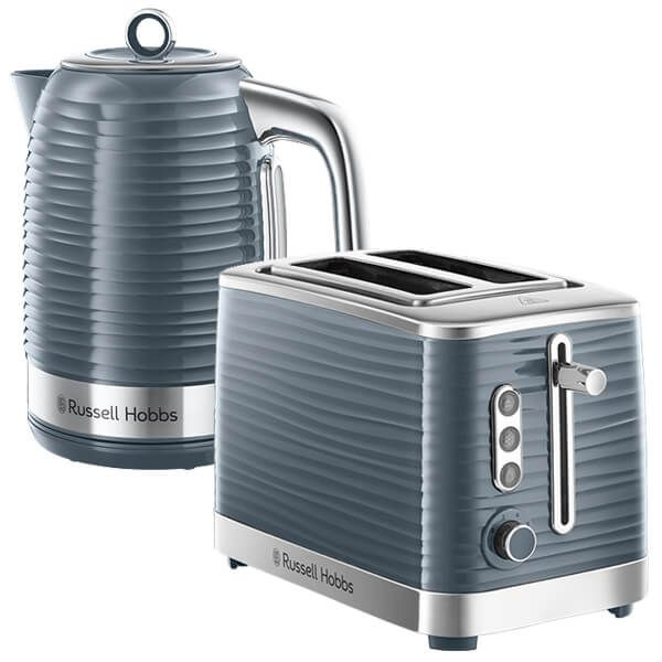 Russell Hobbs Inspire Kettle & 2 Slice Toaster Set Grey