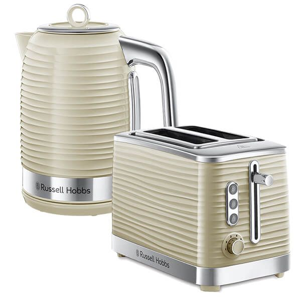 Russell Hobbs Inspire Kettle & 2 Slice Toaster Set Cream