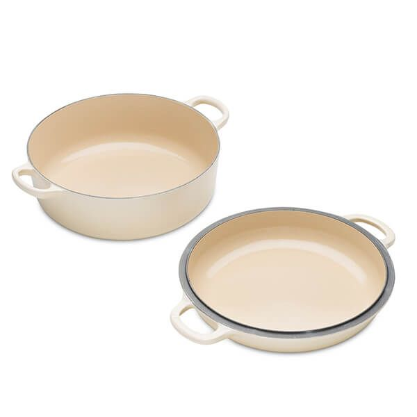 Le Creuset Almond Cast Iron 26cm Shallow Casserole with Multifunction Lid