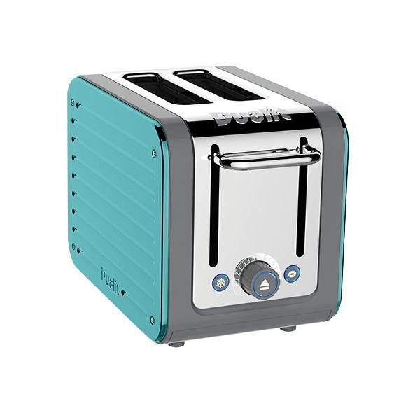 Dualit Architect 2 Slot Grey Body With Azure Blue Panel Toaster