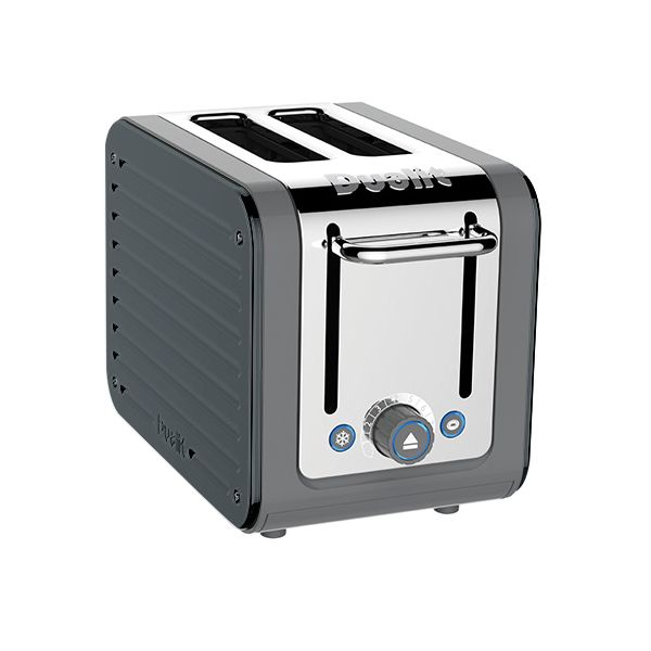 Dualit Architect 2 Slot Grey Body With Metallic Charcoal Panel Toaster