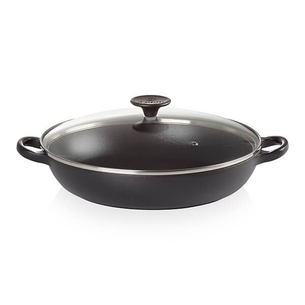 Le Creuset Black Cast Iron 28cm Shallow Casserole with Glass Lid