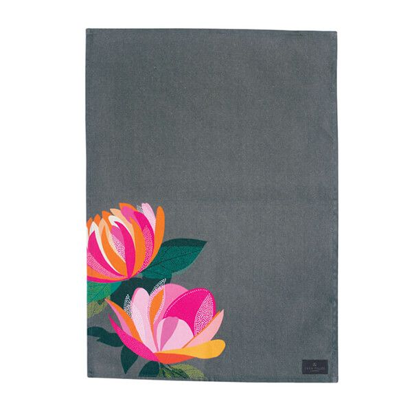 Sara Miller Dark Grey Peony Placement Tea Towel