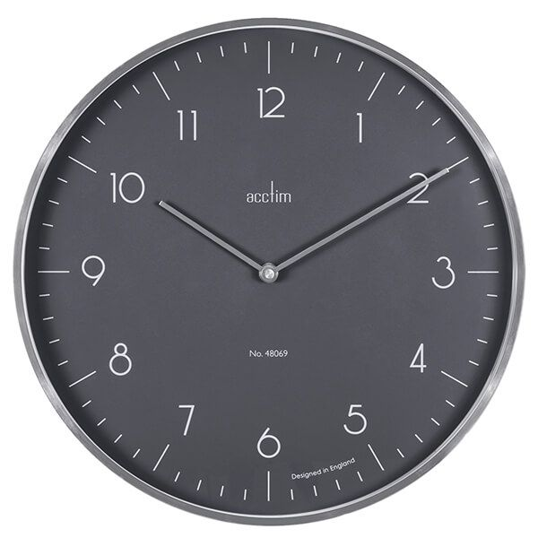 Acctim Madison Wall Clock Brushed Silver/London Sky