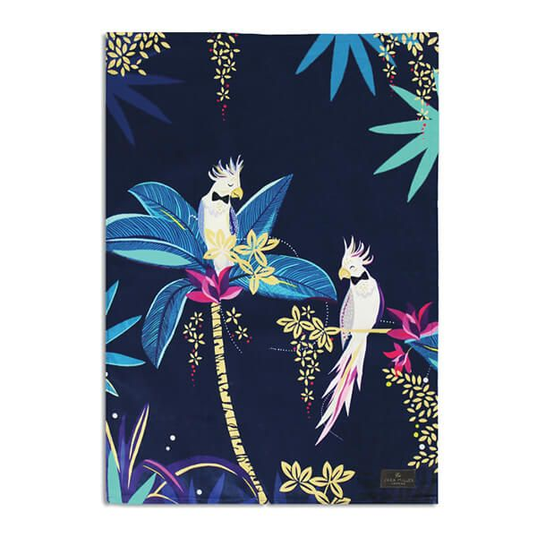 Sara Miller Tahiti Cockatoo Blue Tea Towel